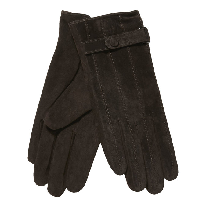 Ladies' leather gloves with a strip bata, brown , 903-4100 - 13