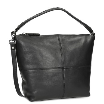 Leather handbag with a detachable strap bata, black , 964-6233 - 13