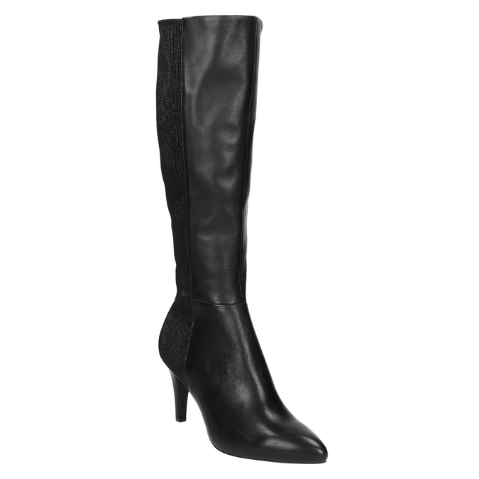 Leather Cossacks on a stiletto heel insolia, black , 794-6628 - 13