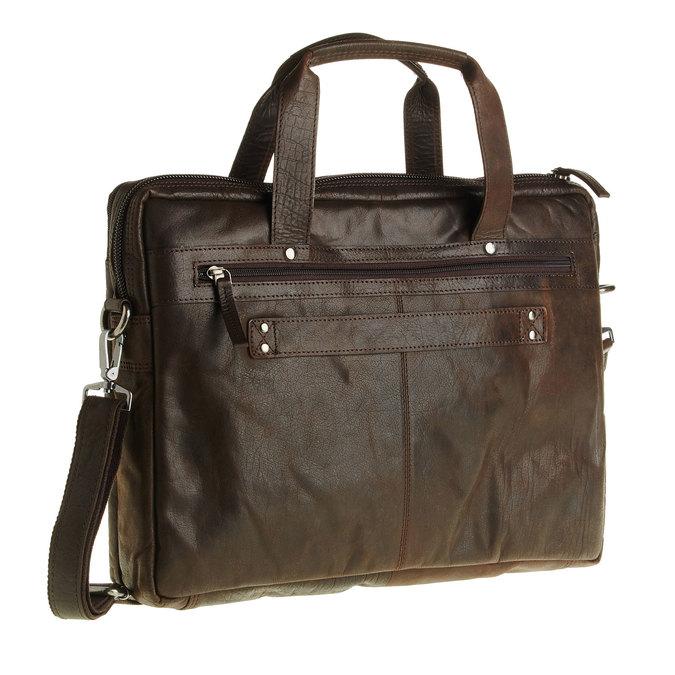 Zippered leather bag bata, brown , 964-4101 - 13