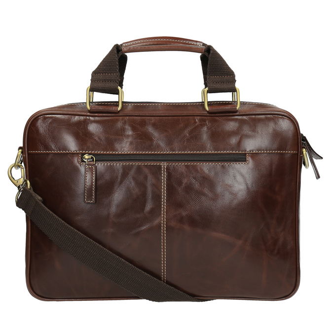 Men's leather satchel bata, brown , 964-4204 - 26
