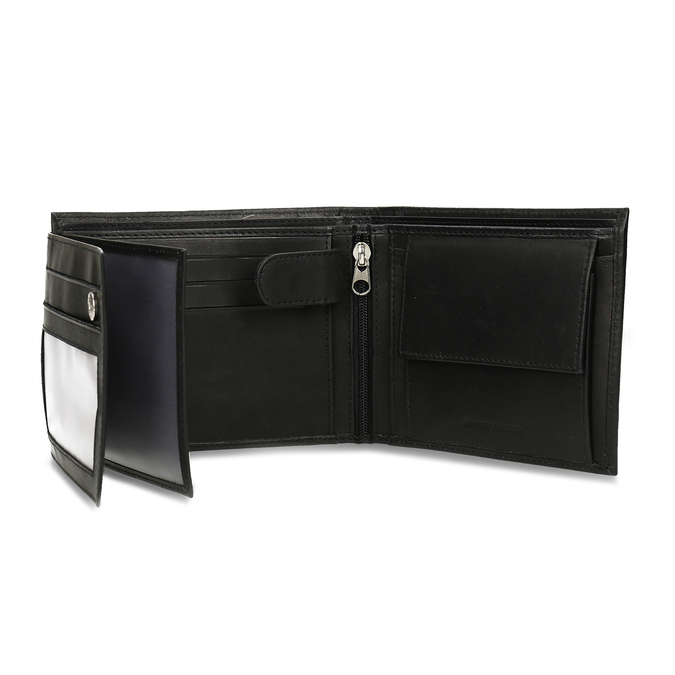 Men's leather wallet bata, black , 944-6171 - 15