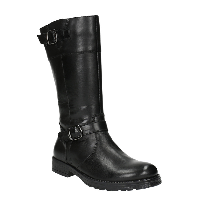 Girls' leather Cossacks mini-b, black , 394-6190 - 13
