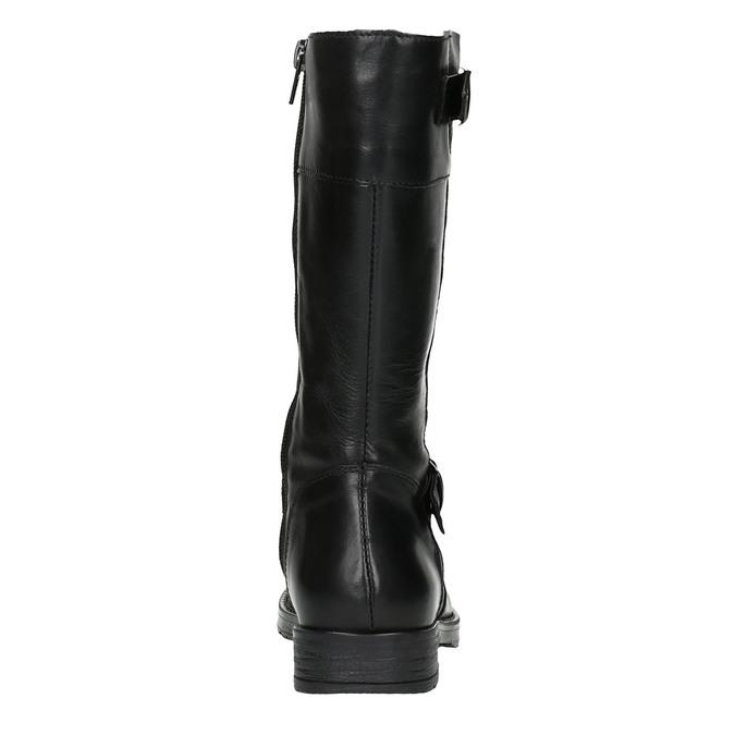 Girls' leather Cossacks mini-b, black , 394-6190 - 17