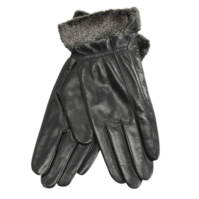 Ladies' leather gloves with fur, black , 904-6112 - 13