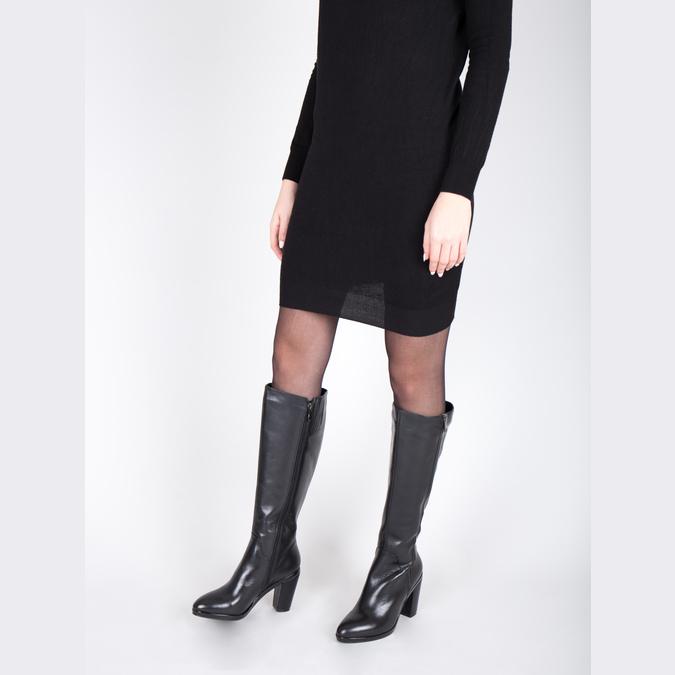 Leather high boots for broader calves bata, black , 694-6635 - 18