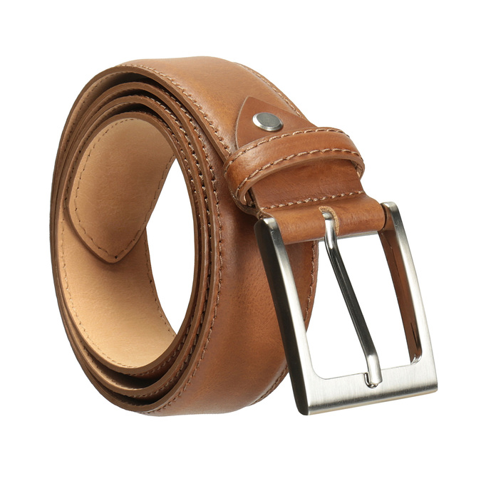 Men's brown leather belt bata, brown , 954-4153 - 13