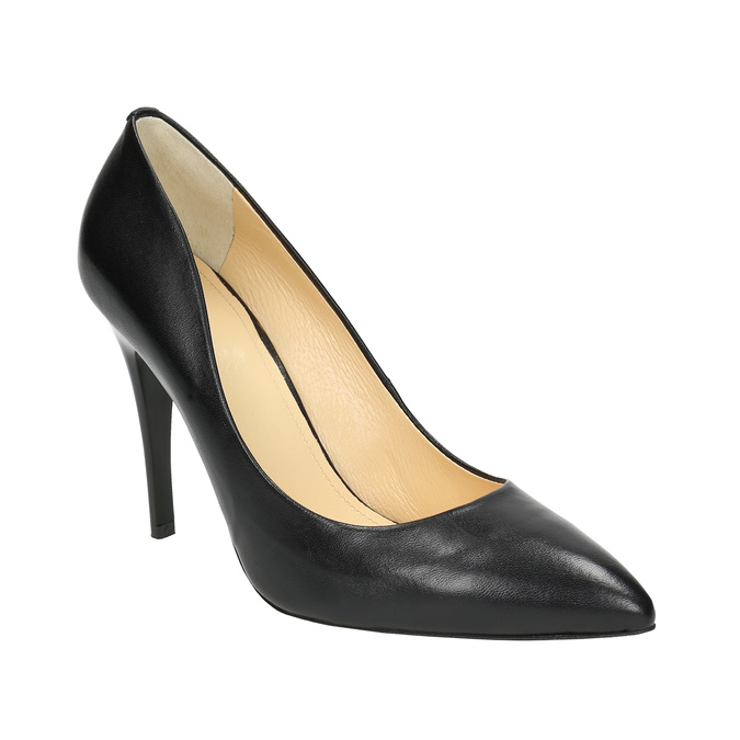 Black leather pumps bata, black , 726-6645 - 13