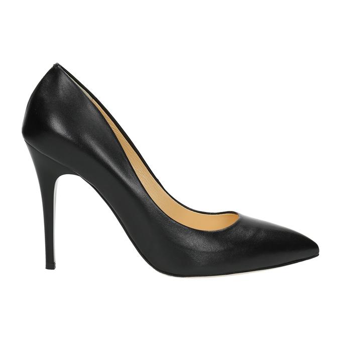 Black leather pumps bata, black , 726-6645 - 15