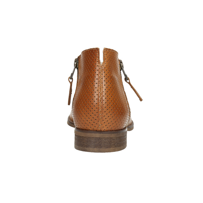 Leather high ankle boots with perforations bata, brown , 596-4647 - 17