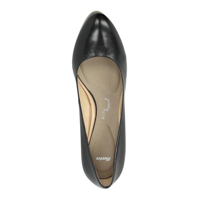 Ladies´ leather pumps pillow-padding, black , 724-6641 - 19