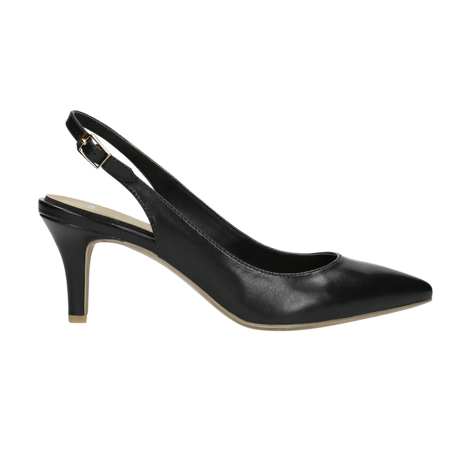 Leather pumps in the Sling-back style pillow-padding, black , 624-6638 - 15
