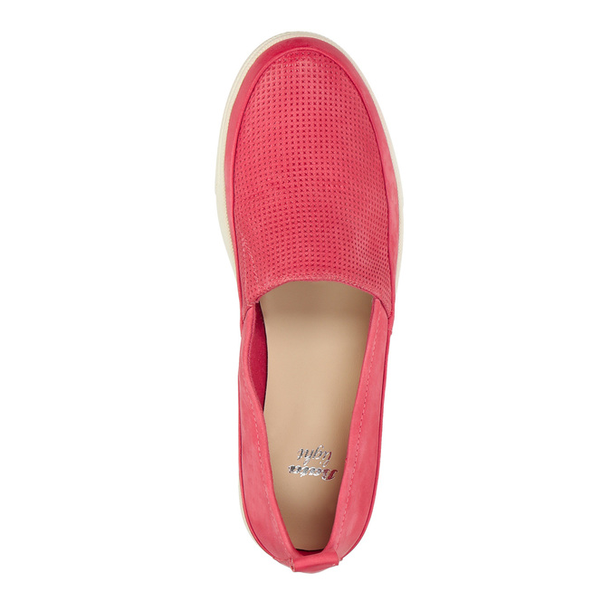 Leather shoes with perforations bata, pink , 516-5601 - 19