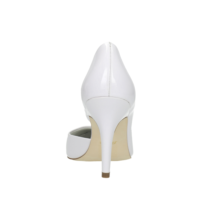 White pointed leather pumps, white , 728-1635 - 17