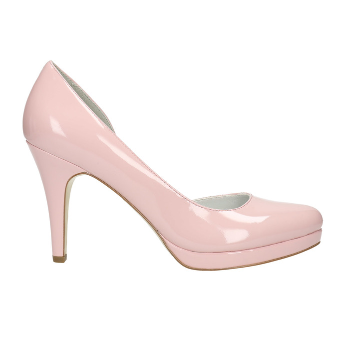 Pink leather pumps with cut-outs insolia, pink , 728-5637 - 15