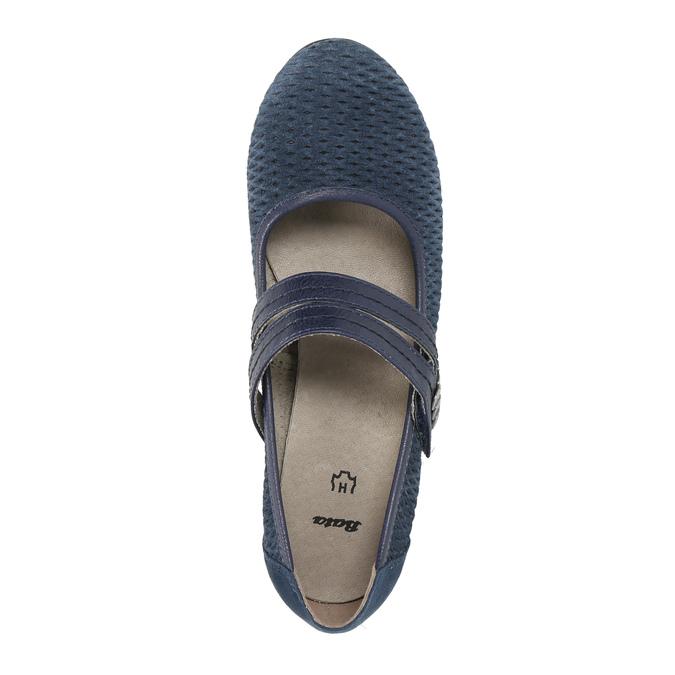Blue leather pumps width H bata, blue , 623-9600 - 19