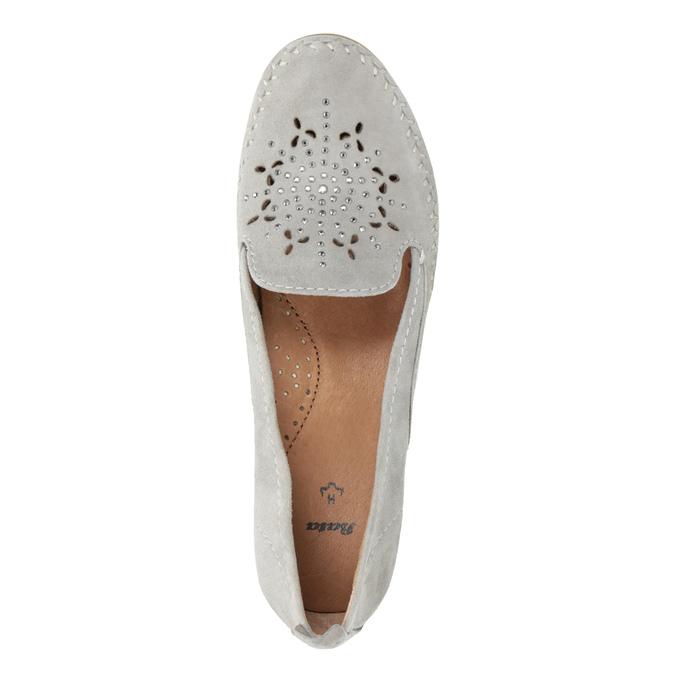 Ladies' leather H-width moccasins bata, gray , 523-2603 - 19