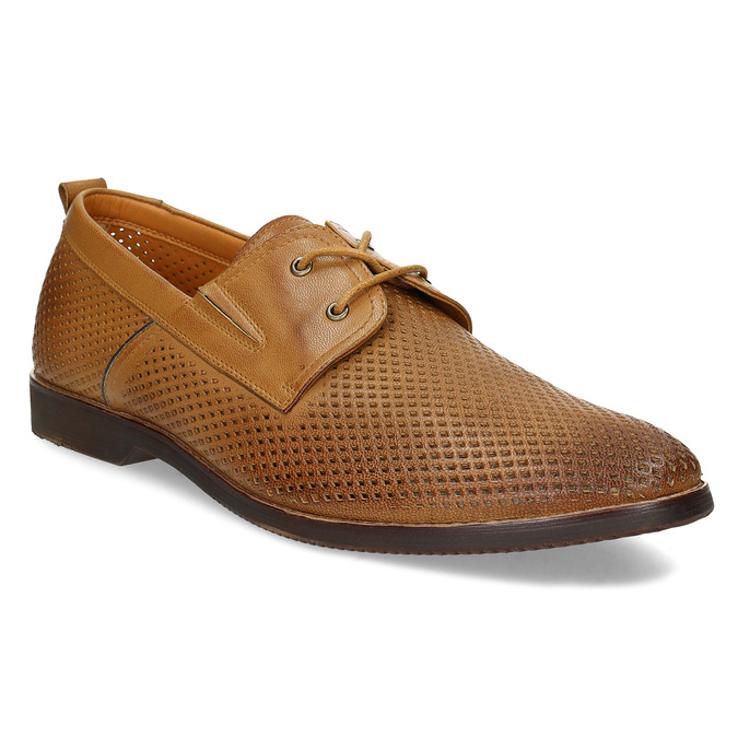 Casual leather shoes with perforations, brown , 856-3601 - 13