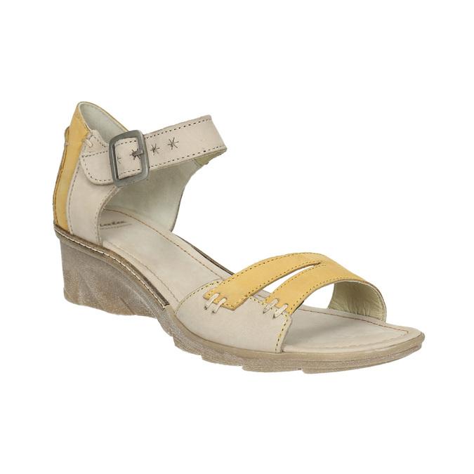 Leather wedge-heel sandals bata, gray , 626-2642 - 13