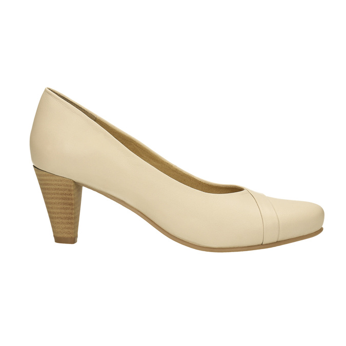 Leather pumps on a tapered heel bata, beige , 624-1600 - 15