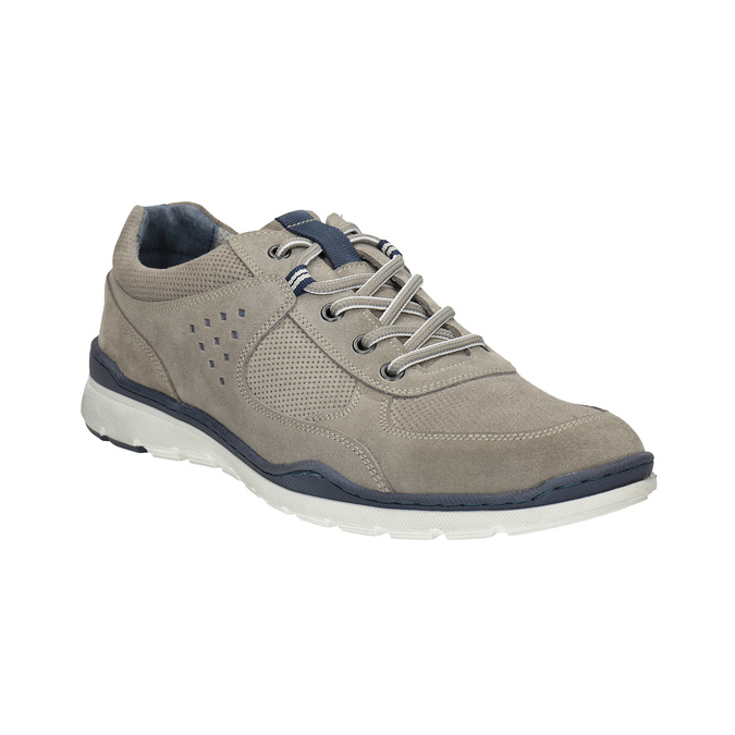 Casual leather sneakers bata, gray , 843-2627 - 13