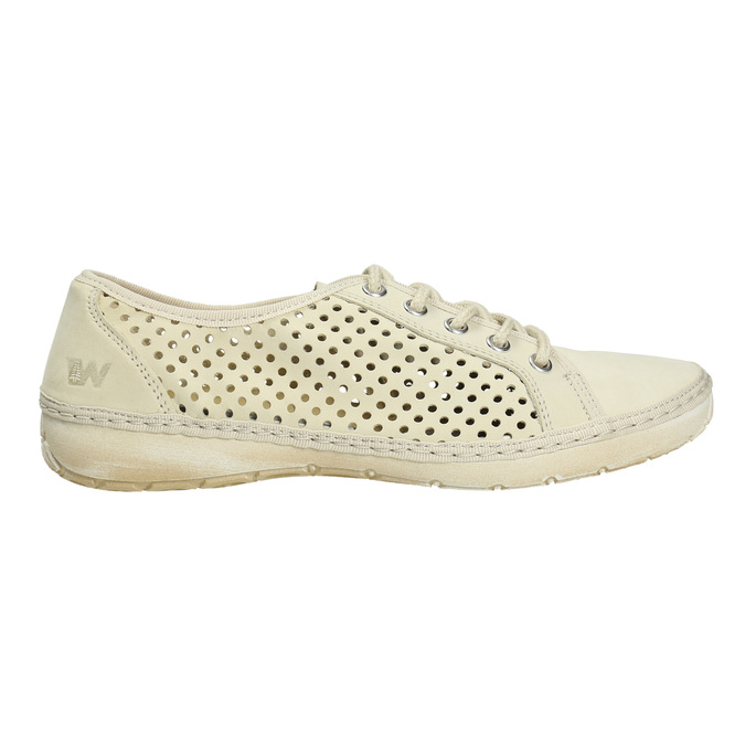 Leather shoes with perforations weinbrenner, yellow , 546-8605 - 15