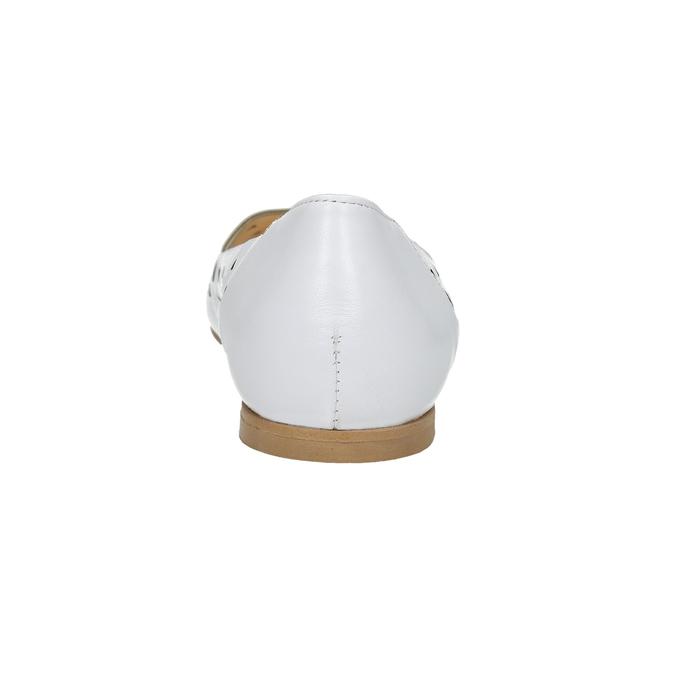 White leather ballet pumps bata, white , 524-1604 - 17