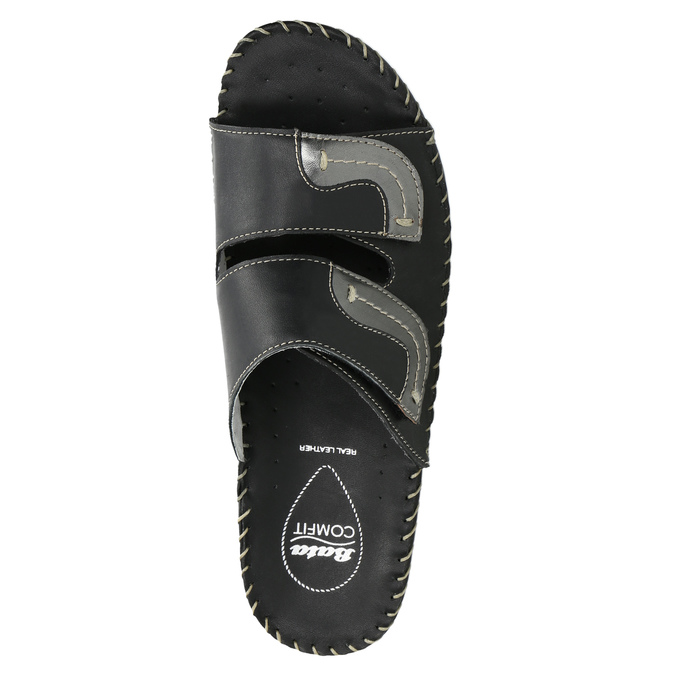 Leather slippers, black , 674-6600 - 19