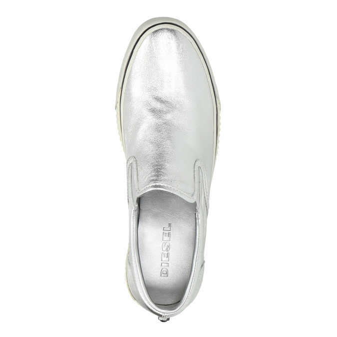 Silver leather slip-ons diesel, silver , 504-1437 - 19