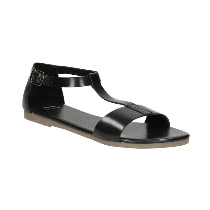 Black leather sandals bata, black , 564-6600 - 13