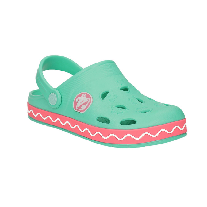 Girls' sandals with frog coqui, green, 272-7602 - 13
