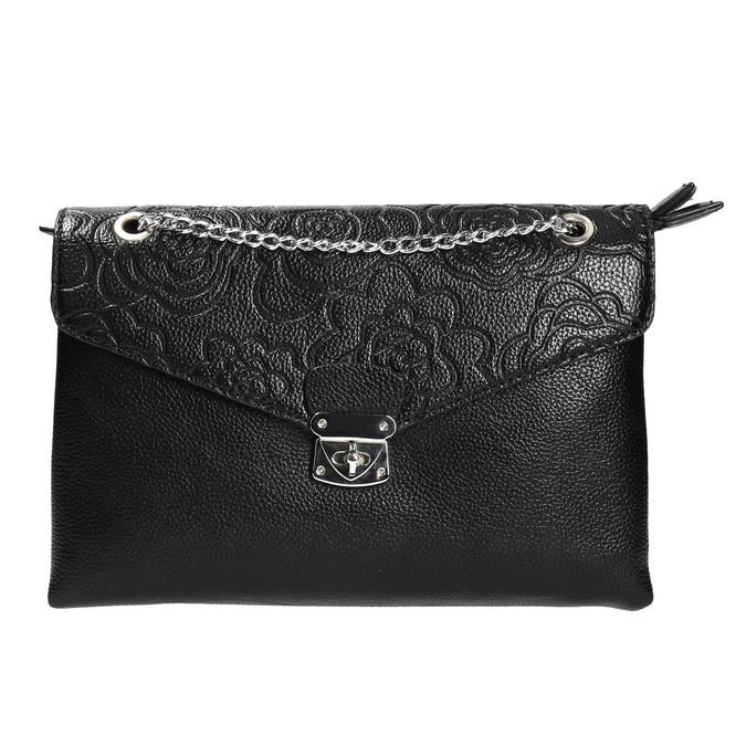 Small black handbag with flap bata, black , 961-6731 - 26