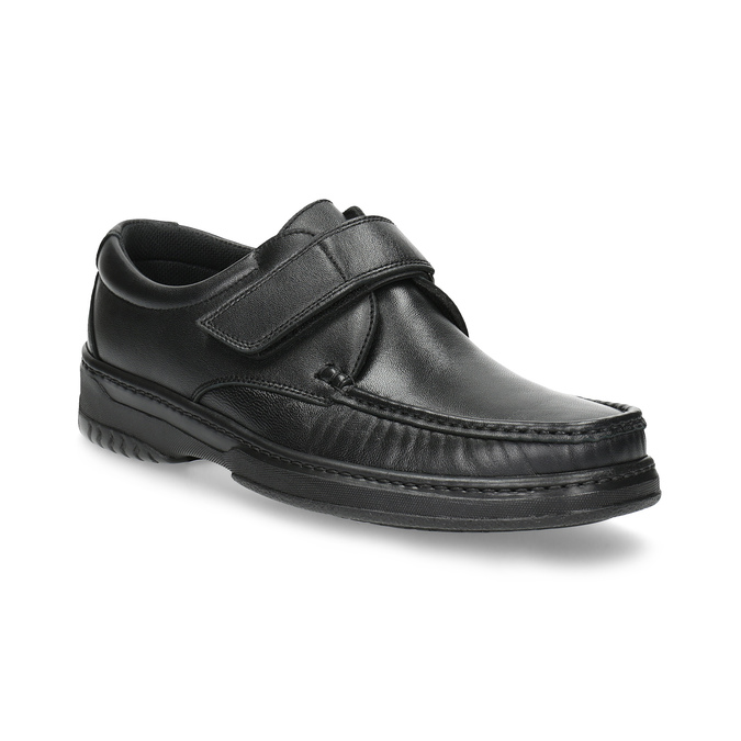 Men's leather shoes with Velcro, black , 824-6543 - 13