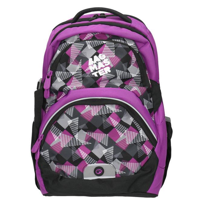 School backpack with print bagmaster, violet , 969-5656 - 26