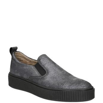 Ladies' Slip-on on black flatforms bata, gray , 516-1613 - 13