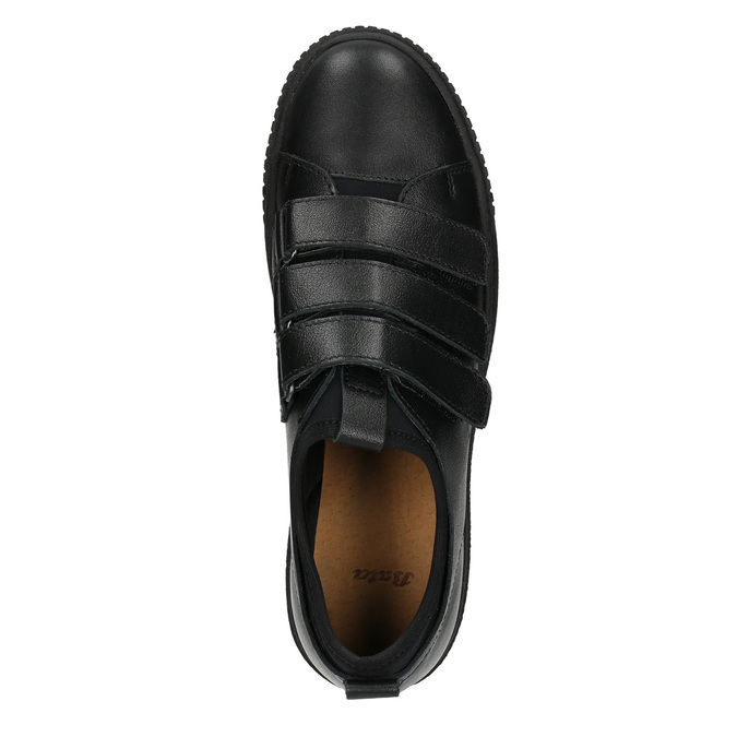Black leather sneakers with Velcro bata, black , 526-6646 - 15