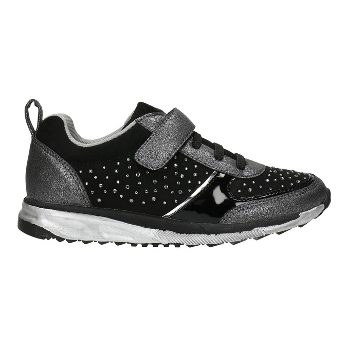 Girl's sneakers with small rhinestones mini-b, black , 329-6295 - 15