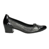 Leather pumps on a low heel gabor, black , 626-6116 - 15