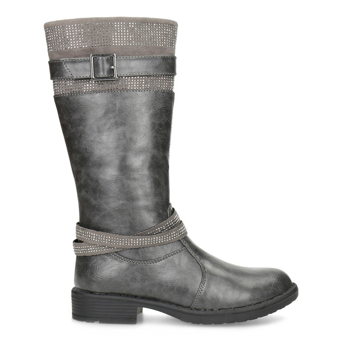 Girls' High Boots with Rhinestones mini-b, gray , 391-2655 - 19