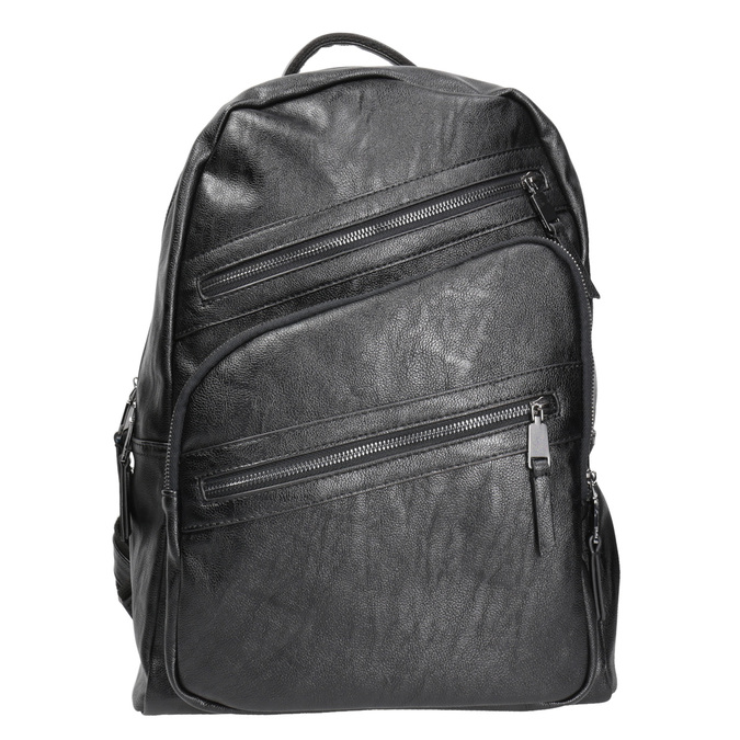 Backpack with zips bata, black , 961-6516 - 26