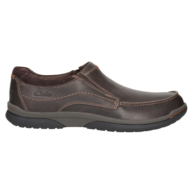 Men's Leather Moccasins with Stitching clarks, brown , 816-4022 - 26