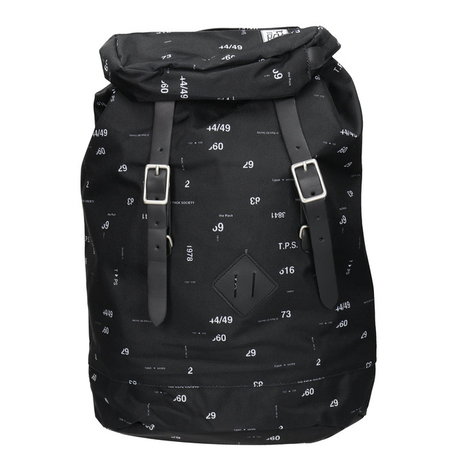 Backpack with Print and Buckles, black , 969-6076 - 26