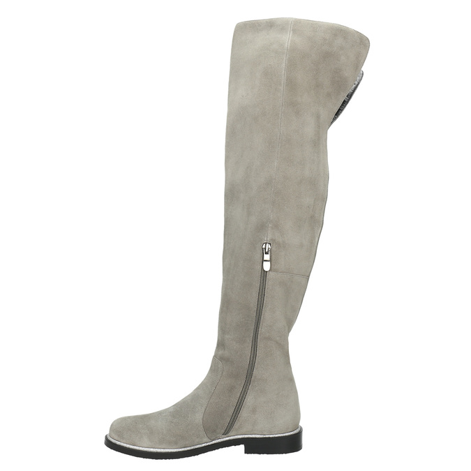 Grey over-knee high boots bata, gray , 593-2605 - 26