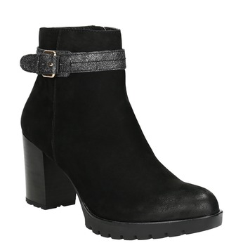 Ladies' Leather Ankle Boots with Buckle bata, black , 796-6644 - 13