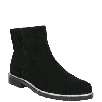Leather ankle boots with silver trim bata, black , 593-6603 - 13
