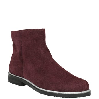 Brushed leather ankle boots bata, red , 593-5603 - 13