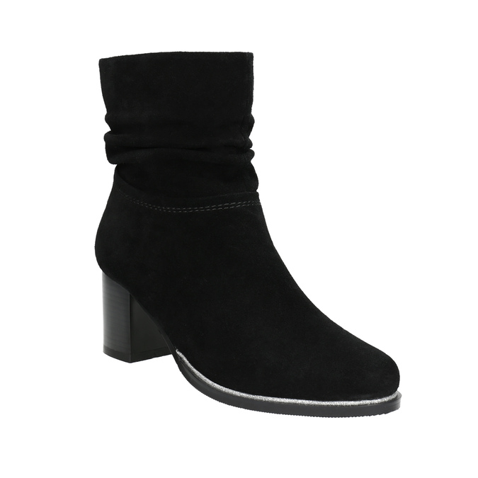 Leather ankle boots bata, black , 693-6602 - 13