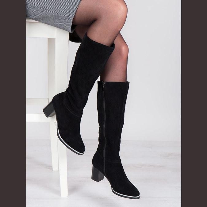 Black brushed leather high boots bata, black , 693-6603 - 18