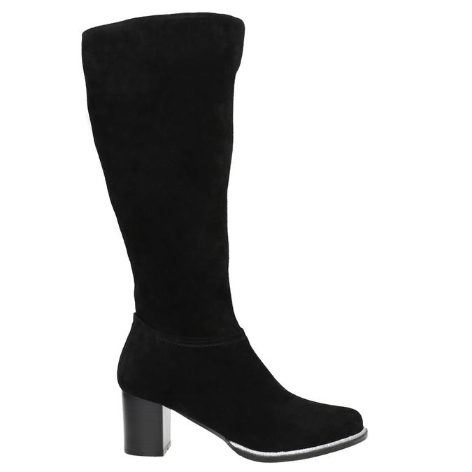 Black brushed leather high boots bata, black , 693-6603 - 15