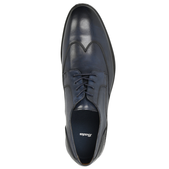 Men's blue leather shoes bata, blue , 826-9914 - 26